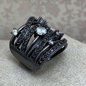 Anel Largo Cravejado de Zircônias Negras e Cristal Semijoia Ródio Negro