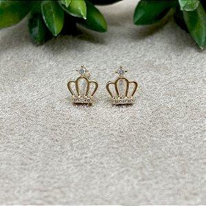 Brinco Coroa Delicada Semijoia Ouro
