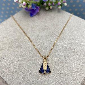 Colar Nossa Senhora Pequena Luxo Semijoia Ouro