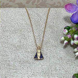 Colar Nossa Senhora Pequena Semijoia Ouro