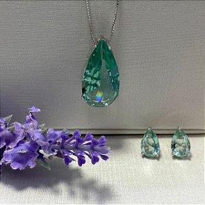 Conjunto Gota Cristal Turmalina Semijoia Ródio
