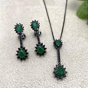 Conjunto Gotas Cristal Esmeralda e Zircônias Negras Semijoia Ródio Negro