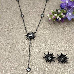 Conjunto Estrela Negra com Cristais e Zircônias Semijoia Ródio Negro