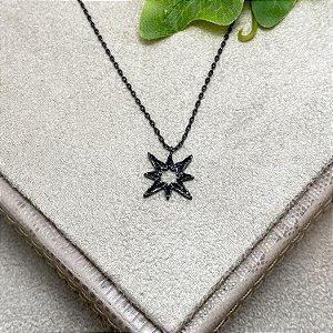 Colar Estrela Cravejada Semijoia Ródio Negro