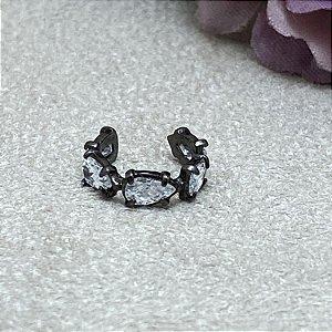 Brinco Falso Piercing 5 Pedras Zircônias Cristal Semijoia Ródio Negro