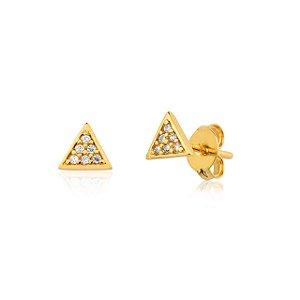 Brinco Segundo Furo Mini Triângulo Semijoia Ouro