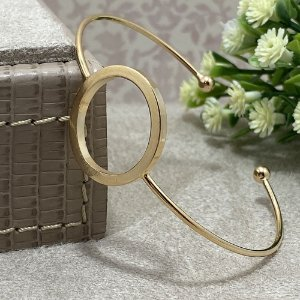 Bracelete Círculo Vazado Semijoia Ouro