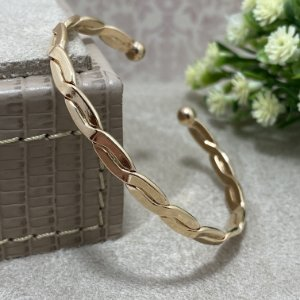 Bracelete Trançado Semijoia Ouro