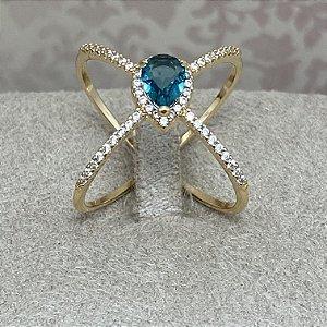 "Anel de ""X"" Cravejado com Cristal Azul Semijoia Ouro"