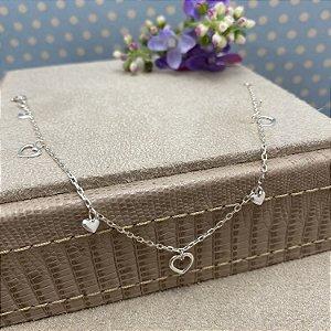 Pulseira Delicada 6 Corações em Prata