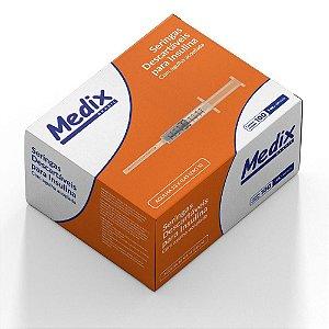 Seringa de Insulina 1ml com Agulha 13 x 4,5 Cx c/ 100 Unds - Medix
