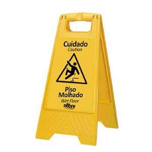 Placa plastica sinalizadora ''Piso Molhado'' - Nobre