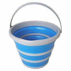 Balde Retrátil Dobrável 10 litros Azul - Nobre
