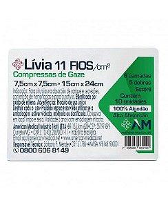 Compressa de Gaze Estéril 11 fios Livia - América