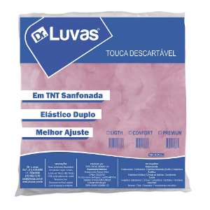 Touca Descartável Sanfonada TNT Rosa - Dr Luvas