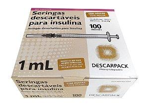Seringa Insulina Com Agulha Cx c/ 100un - Descarpack
