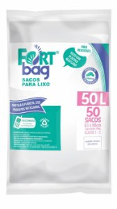 Saco para lixo 50lt Branco Pacote com 50 Unidades - Fortbag