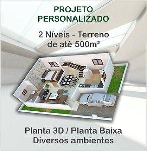 Planta 2 níveis - Terreno até 500m²