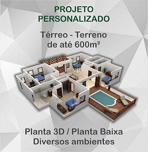 Planta 2 níveis - Terreno até 600m²