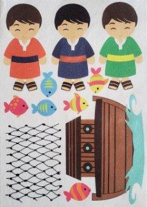 Kit Historinha Bíblica - Pedro, Thiago e João no barquinho