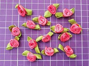 Flor de Rococó com folha Pink Claro/ Coral