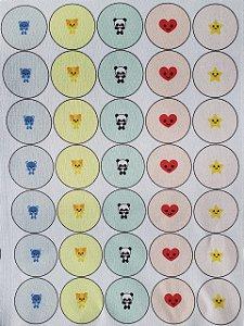 Estampa para Botão Bombê (com ou sem botão) Bichinhos Kawaii