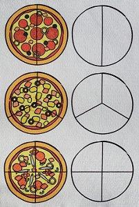 Conjunto frações matemáticas - pizza