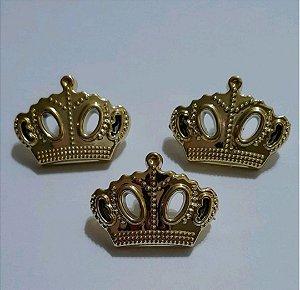 Botão Coroa Dourado Rainha C/3