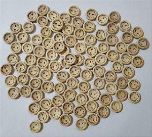 Botão de madeira Handmade with love (Feito a mão com amor) 5 unidades