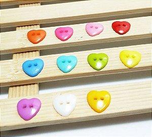 Botão coração - Potinho com 10 unidades