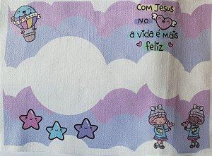 Almofada Pipoca - Com Jesus no Coração (colorida)