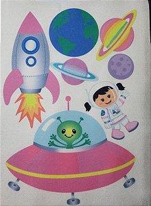 Kit para Móbile Astronauta Menina Cabelo Escuro