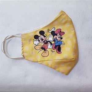 Máscara de Proteção Mickey e Minnie Amarelo