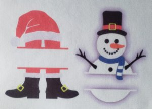 Porta Recado de Natal Papai Noel e Boneco de Neve