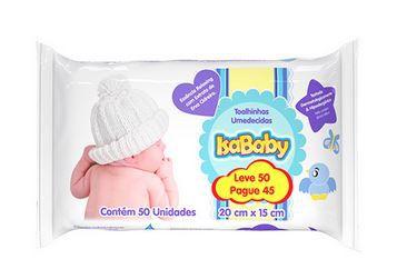 Toalha Umedecida Promo (Leve 50 Pague 45) 12 Pacotes Com 50 Unidades Isababy
