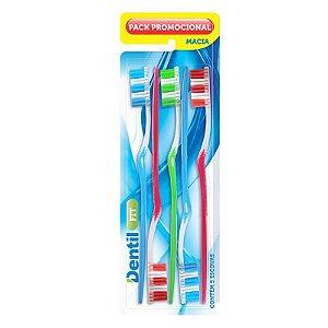 Escova Dental Dentil Fit Macia com 5 unidades