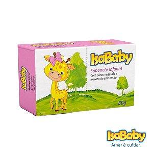 Sabonete Infantil Vegetal IsaBaby Zoo Rosa 80g extrato de camomila