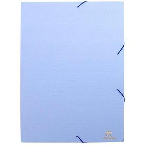 Pasta Starlux Aba Elástico Ofício Azul Pastel ( Textura em Linho )