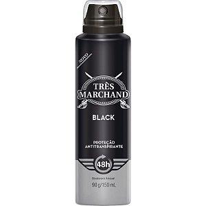 Desodorante Aerosol Tres Marchand Black 150ML ( 48h de Proteção )