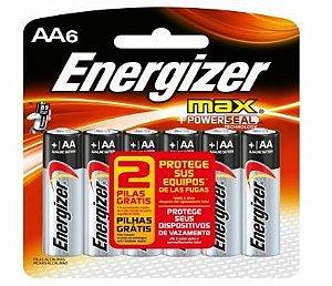 Pilha Max SM Pequena AA4 + 2 Pilhas Grátis Energizer
