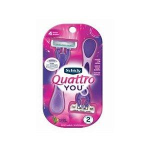 Aparelho Schick Quattro You For Women Descartável Aloe Vera Com 2 Unidades