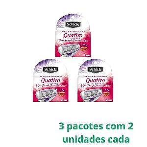 Carga Schick Quattro Women 3 Pacotes Com 2 Unidades