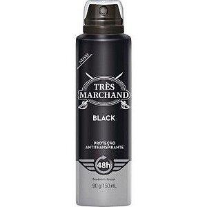 Desodorante Aerosol Tres Marchand Black 150ML 1 Unidade