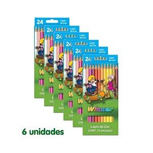 Winner Lapis Cor (Faber 111403) Grande 24 Cores com 6 Unidades