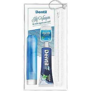 Kit Viagem Dentil Azul ( Gel Fresh Mint+ Fio+ Escova) Com 1 Unidade