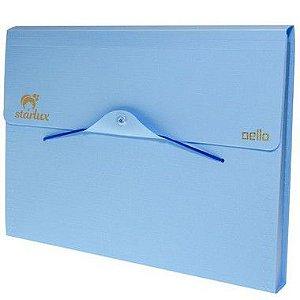 Starlux Pasta Sanfonada A4 Linho Serena Azul Pastel Com 12 Divisorias 1 Unidade