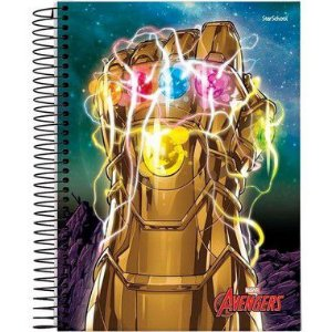 Starschool Caderno Espiral 1/4 Avengers Capa Dura 80 Folhas com 5 Unidades
