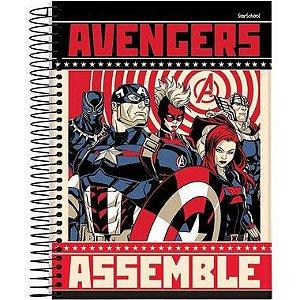 Starschool Caderno Espiral Universitário 10 Matérias Avengers Capa Dura 160 Folhas com 4 Unidades