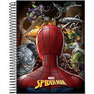Starschool Caderno Espiral Universitário 10 Matérias Spider Capa Dura 160 Folhas com 4 Unidades