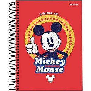 Starschool Caderno Espiral Universitário 1 Matéria Mickey Capa Dura 80 Folhas com 4 Unidades